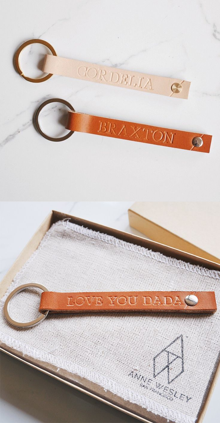 Personalized Slim Leather Keychain | Pinterest