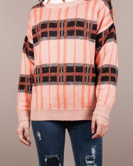 Jumper with plaid pattern