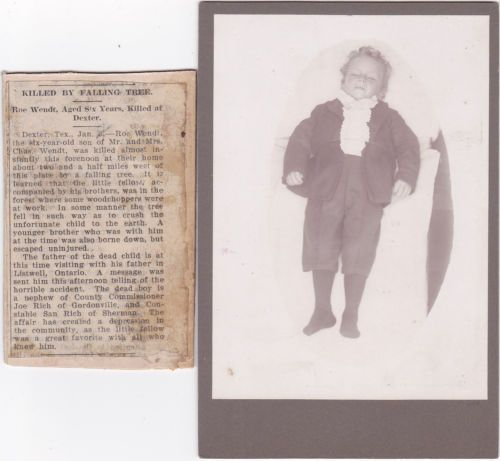 Post Mortem Cabinet Photo 6 yr Old Boy Killed by Falling Tree 1906 Dexter Texas