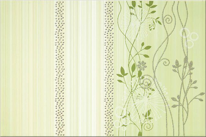 Faianta Model Floral Verde clasica, din colectia Calipso de la Opoczno Model de faianta decorativa cu flori verzi pentru bai cu aspect natural. Vezi Pret