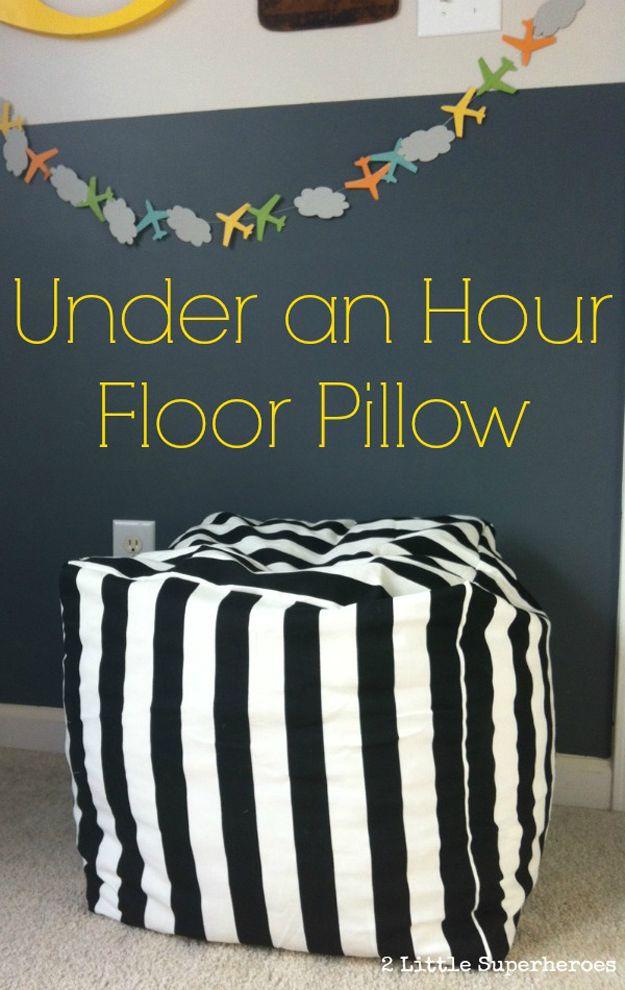 Under an Hour Floor Pillow DIY | Easy DIY Home Decor Project on a Budget by DIY Ready at diyready.com/...