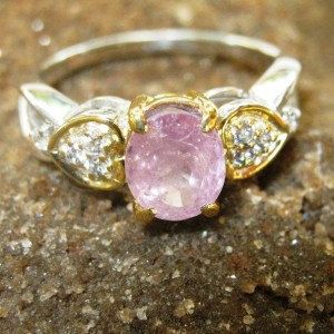 Asian Pink Sapphire Silver Ring 7US Elegant Style by indogemsjewel