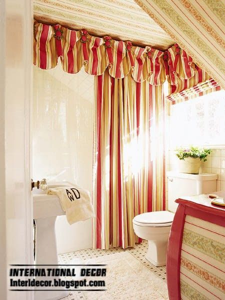 Red striped curtain for bathroom window curtains pinterest