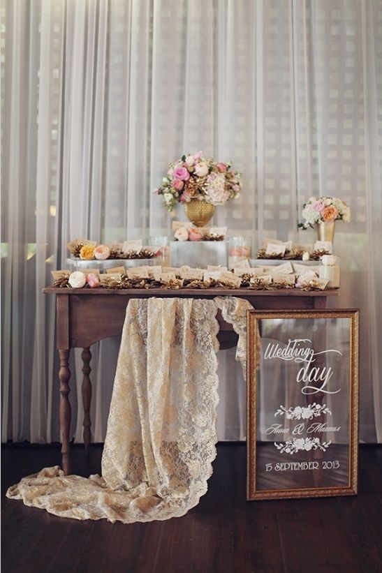 Vintage chic escort card table with gold succulent escort card holders. http://www.weddingchicks.com/2014/05/14/glamorous-russian-wedding-you-have-to-see-to-believe/