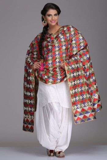 Colourful Cotton Bagh Dupatta With Multicoloured Phulkari Embroidery