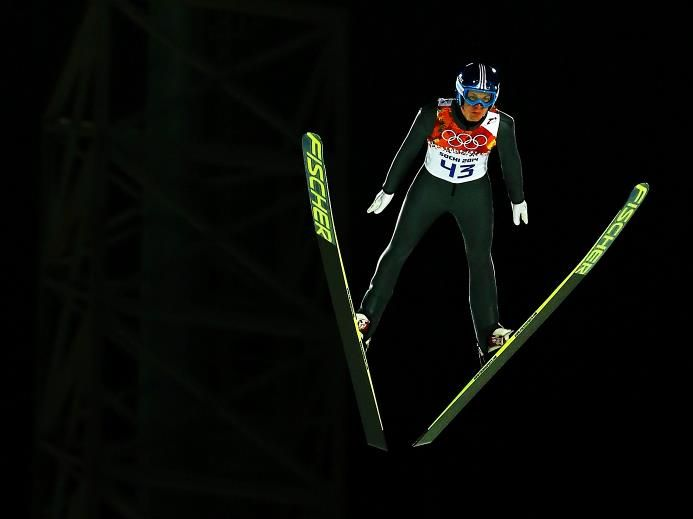 DAY 2:  Michael Hayboeck of Austria jumps during the Men's Normal Hill Individual Qualification