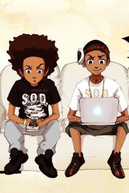 Huey riley freeman boondocks art anime black - Hood cartoon wallpaper ...