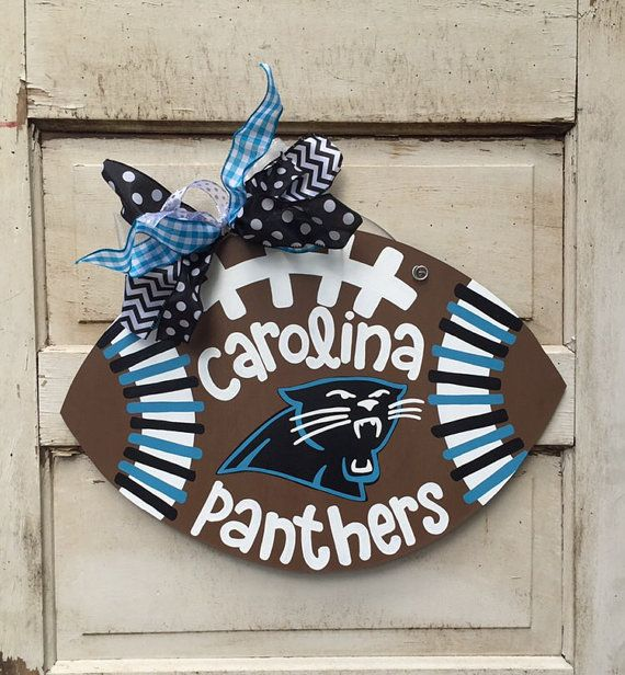 Carolina Panthers, North Carolina Football, Fall Decor, Christmas Gift Idea, Football Door Hanger