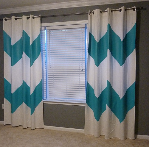 Chevron curtains - #DIY.  hmm, gray and aqua color combo for the bedroom?