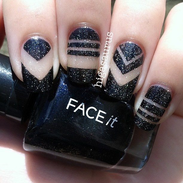 47 best cutout nail designs images on pinterest make up blue black glittery cut out nail art prinsesfo Gallery
