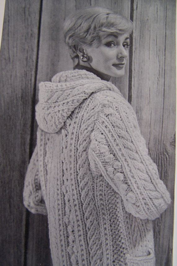 Vintage Aran Cardigan Knitting Pattern : Vintage Knitting Pattern - Aran Fisherman Chunky Hooded ...