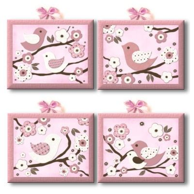 Migi+Blossoms+&+Birdie+Nursery+Bedding+art+by+art4theLITTLEpeople,+$80.00