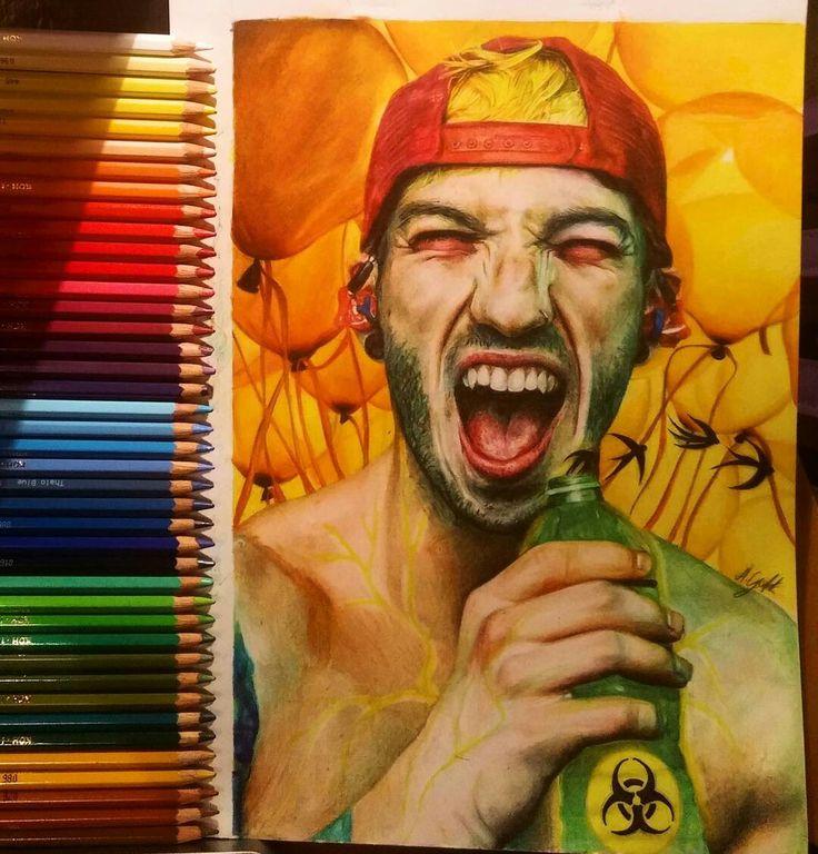 Josh Dun fanart colored pencil