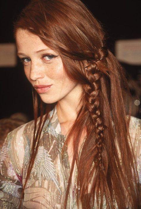 Long Hair Women's Styles : Long braid. Boho hairdo. Redhair. The right hairdo for a bohemian look at night.