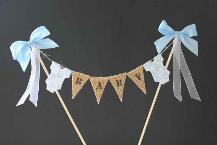Baby shower cake topper, baby boy cake banner, cake bunting, cake flags, baptism, christening, birthday, hessian flags with blue bodysuits by SoLuvli on Etsy https://www.etsy.com/listing/197179192/baby-shower-cake-topper-baby-boy-cake