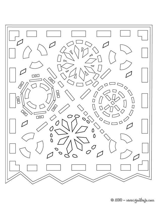 Dia de muertos dibujos para colorear dys papel picado for Papel picado template for kids
