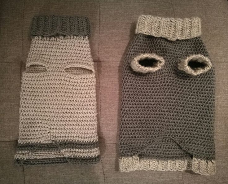 Two doggie sweaters  crotcheted by me (one year apart, as you can probably see the one on the right is slightly better than the one on the left 😂). The one on the right is also crotcheted using reflective yarn (the light grey) so the dog is more visible when walking in the dark! Absolutely recommended! 😀 Link for the video I used for inspiration in the comments 👍