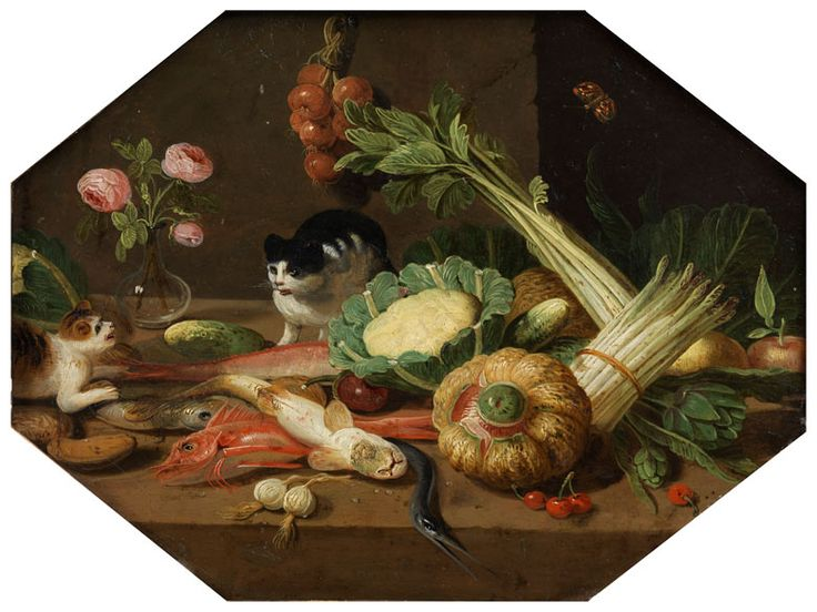 Jan van Kessel el joven (Amberes, 1654-1708). Kitchen Still Life with Tables and Two Cats: