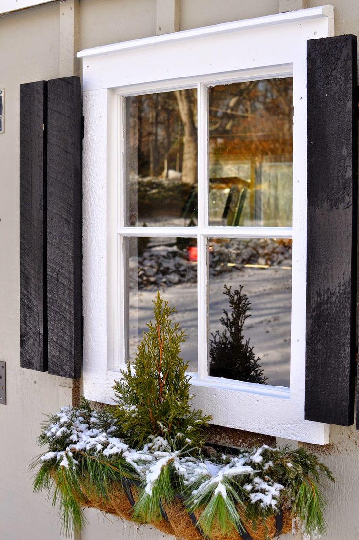 Shed Redo by JayneandCrane.com Benjamin Moore Sandy Hook Gray, Home Depot Window Boxes, Rustoleum Black