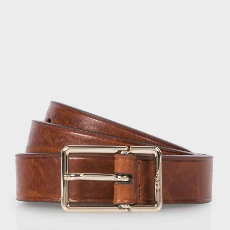 Paul Smith Men's Brown Leather Integrated Keeper Suit Belt