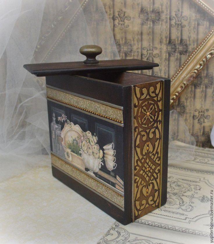 """Купить Короб из набора """"Милый дом"""" - коричневый, черный, короб для кухни, короб для специй"""