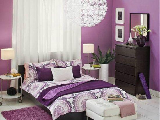 Purple color shceme of Room Interior Designs for Bedroom