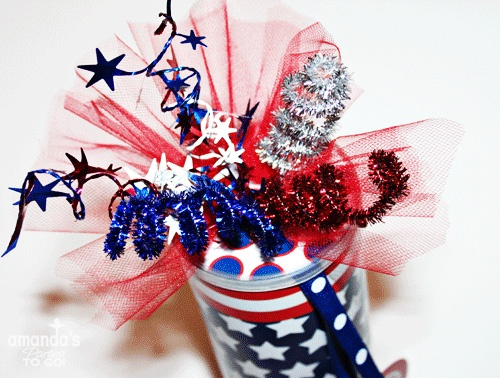 July 4th - Firework Favor Can Tutorial: Amanda S Parties, Patriotic Holiday, July Crafts, Firework Favors, July Ideas, July 4Th, 4Th July, Party Ideas, Birthday Ideas
