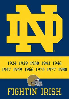 Notre Dame Fighting Irish 11-TIME FOOTBALL CHAMPS Logo Poster Banner - University of Notre Dame, So