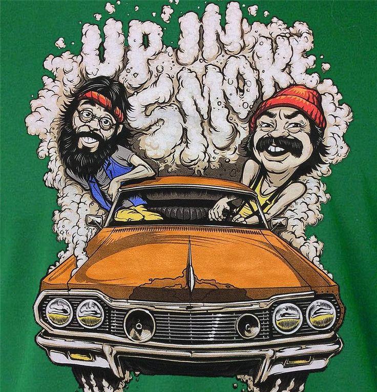 Cheech and Chong Up In Smoke Cartoon Tee / Green Stoner T-Shirt / Sizes - M,L,XL #CheechandChong #GraphicTee