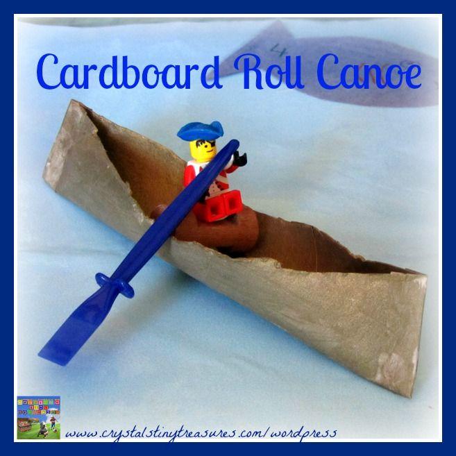 Cardboard roll crafts for kids, Cardboard roll canoe for kids, childminding crafts, babysitting crafts, summer camping crafts for kids, photo