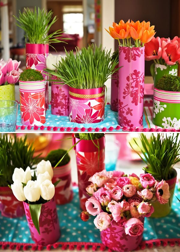 more covered vases...love the pink!