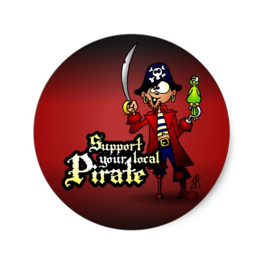 Support your local Pirate Classic Round Sticker #pirate #sticker #cardvibes #tekenaartje #SOLD