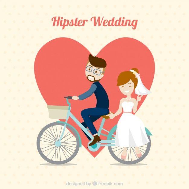 Hipster свадьбы пара с велосипедом Бесплатные векторы