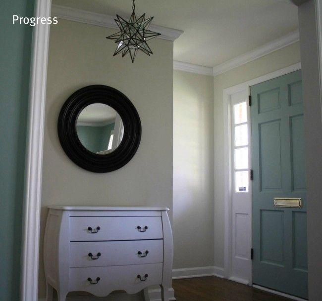 Front Entry Progress. Wall Color: Natural Choice, Sherwin