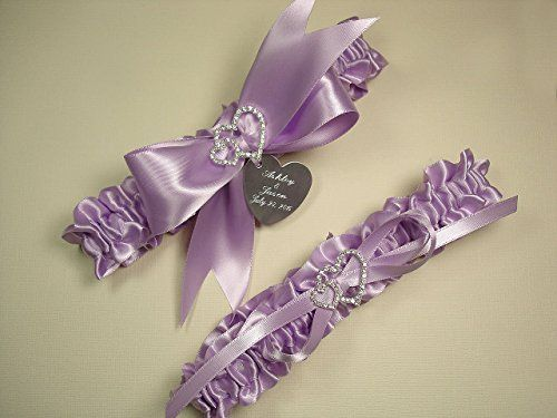 Lavender Wedding Garter Set in Satin with Linked Hearts and Personalized Engraving *** Read more at the image link.