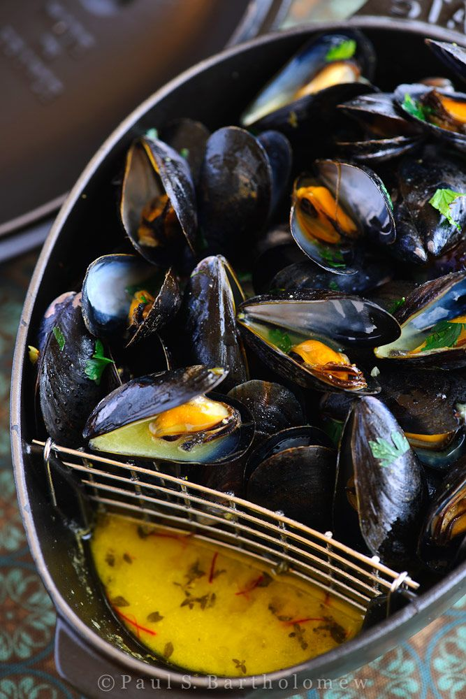 Mussels with Saffron and Mustard - theframedtable.com. For diary free, substitute butter with non-dairy Earth Balance butter (sticks), available at Whole Foods and other grocery stores.