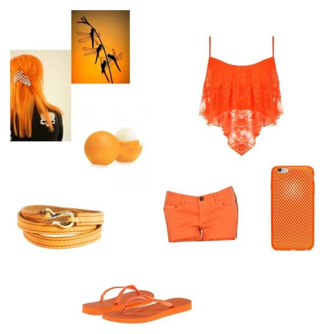 """Orange"" by hayleybanks on Polyvore featuring Eos, AndMesh, Black Orchid, WearAll, Havaianas and Ippolita"