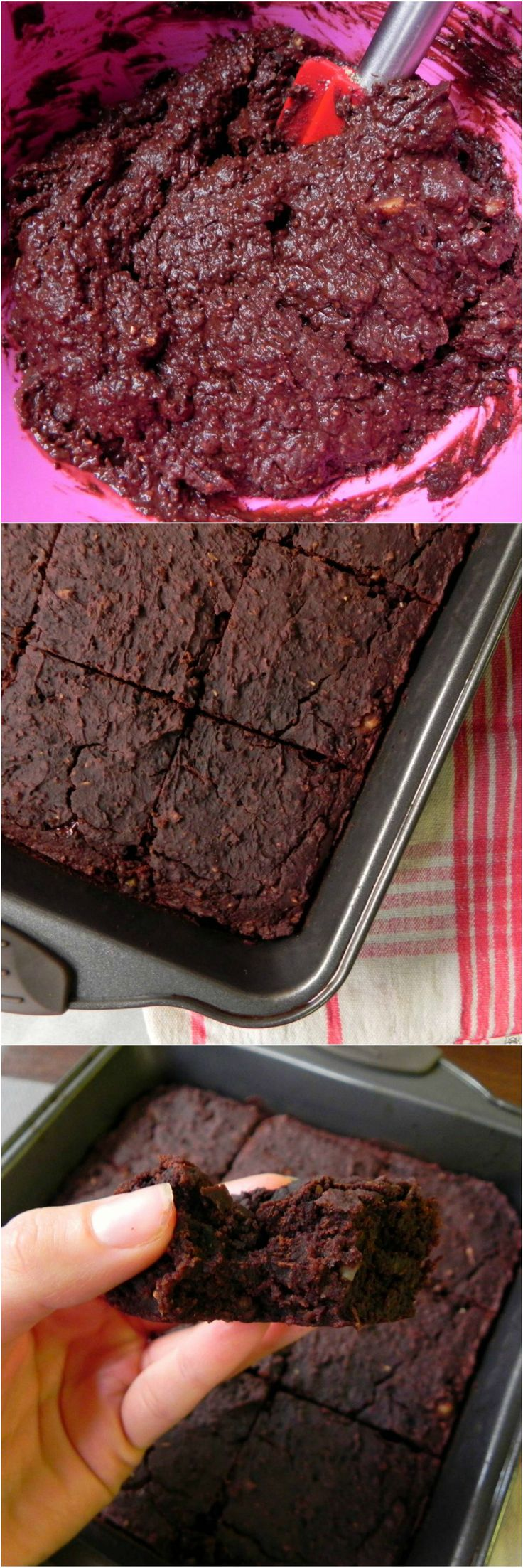 FUDGEY Pumpkin FLOURLESS Black Bean Brownies! These brownies are thick, chocolatey & filled with with melty chocolate chunks. Nobody will guess these brownies are secretly #HEALTHY!