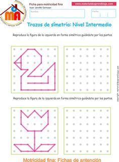 Ejercicio 05nivel intermedio: Actividadesescolares de trazos de simetría paradesarrollar la memoria y la atencióncon los niños.
