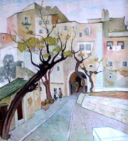 Páteo Dom Fradique Artist: Carlos Botelho Completion Date: 1946 Style: Expressionism Genre: cityscape