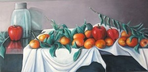 An oil  on canvas still life painting.  It is 4 ft by 2 ft.