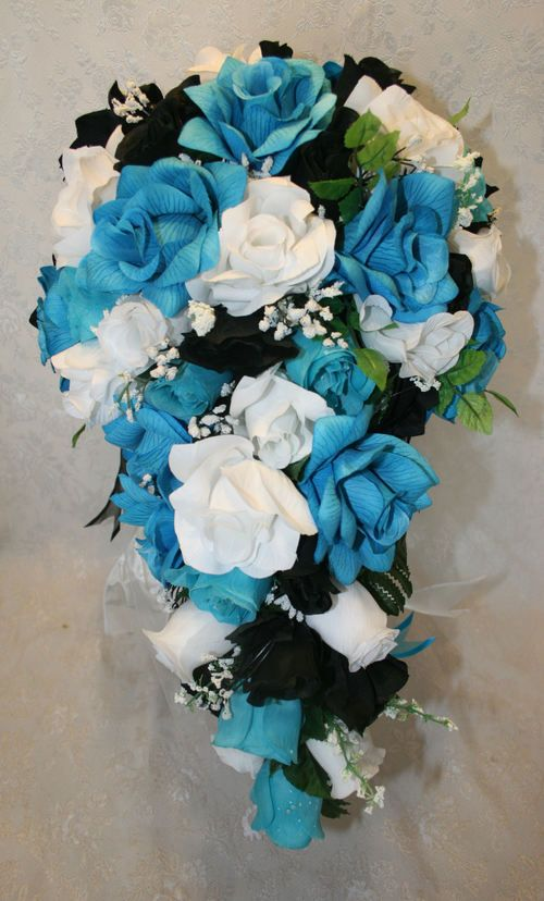 Bridal Bouquet Silk Wedding Flowers Turquoise Black White 21 Pc Ebay