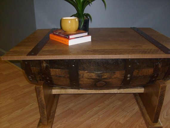 Rustic Oak Whiskey Barrel Coffee Table-FREE SHIPPING