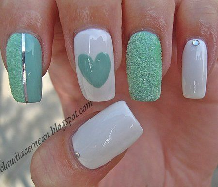 Colored Mint Nails with white polish and a heart! #nailart #polish #manicure - See more nail looks at bellashoot.com  share your faves!