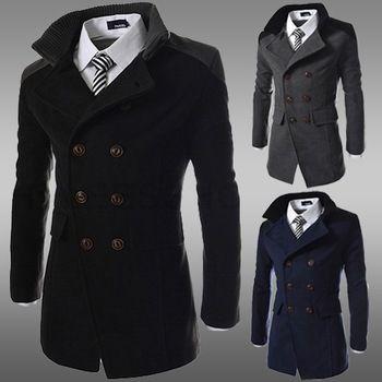 Herfst winter mode knappe mannen patchwork mandarijn kraag jas slanke wind vacht vrijetijdskleding plus size m- xxl