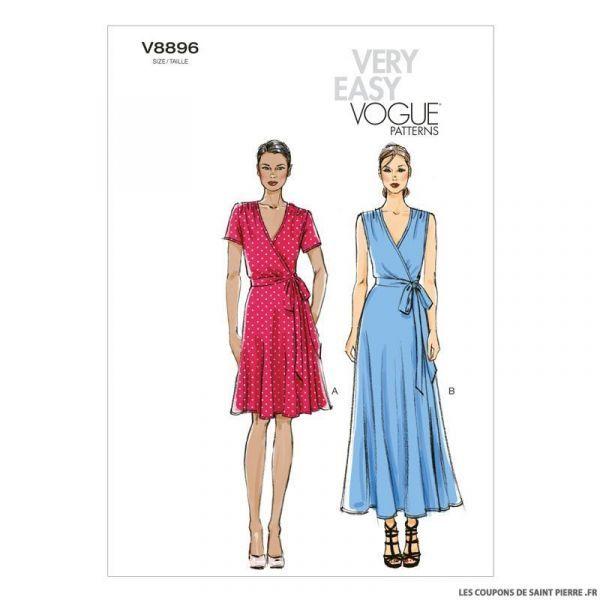 Patron Vogue V8896 Robe Robe Portefeuille Robe Sans Couture Modele Robe
