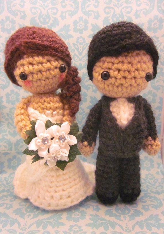 Amigurumi Tutorial Portugues : Custom Bridal Couple Bride and Groom Amigurumi by ...