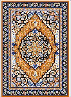 Tabriz Medallion Miniature Rug Stitch on 18 ct. canvas/material