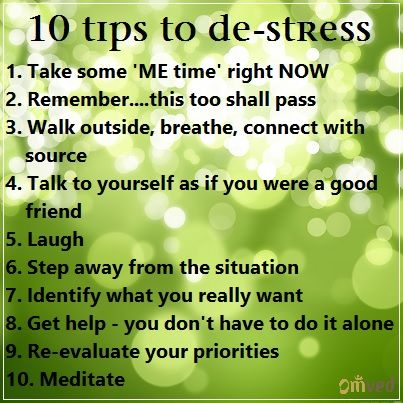 10 tips to de-stress - It's all in your mind...literally!