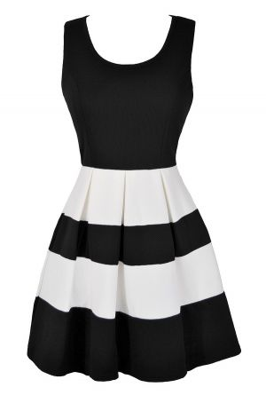 White Stripes Textured A-Line Dress www.lilyboutique.com
